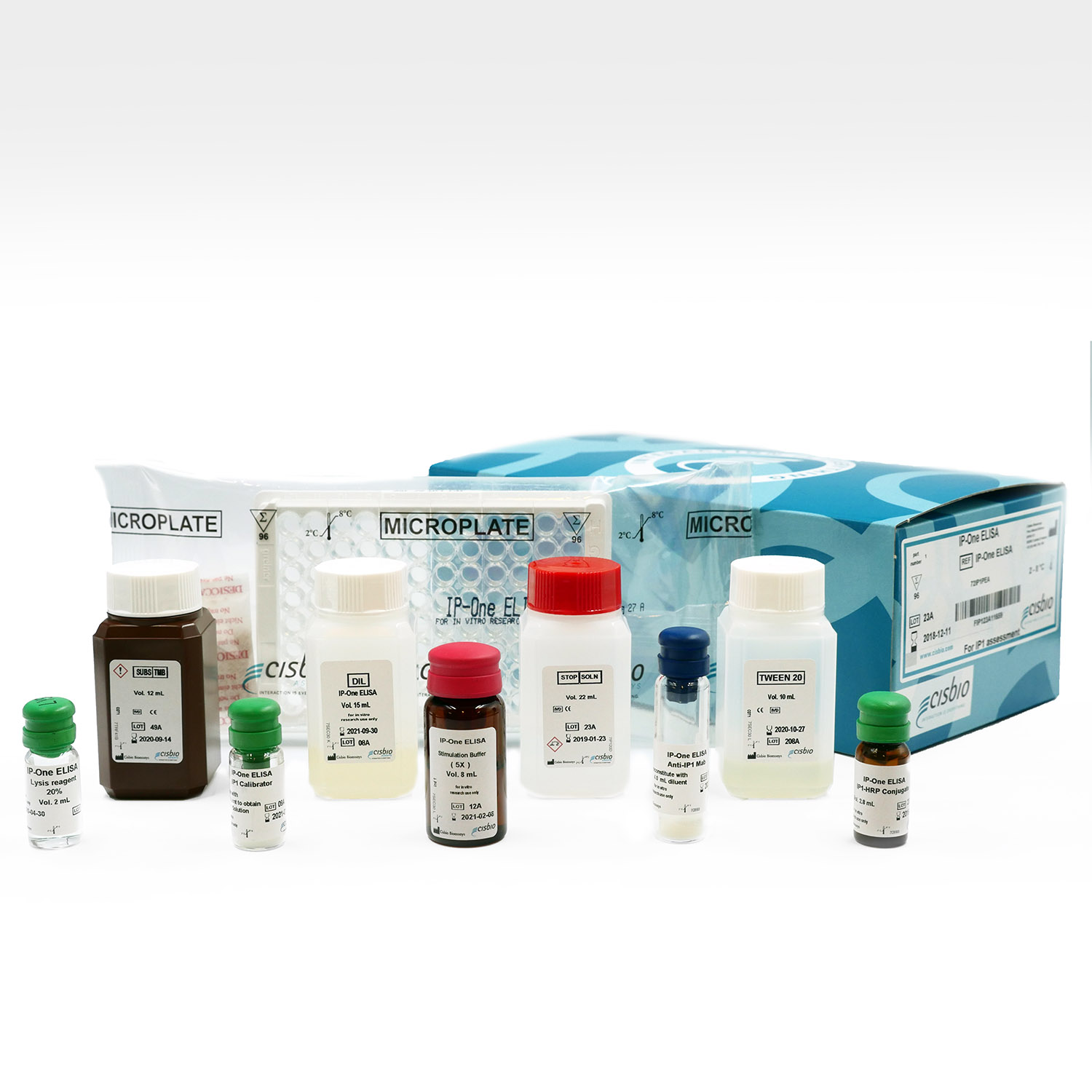 Photography of IP-One Gq ELISA kit and components
